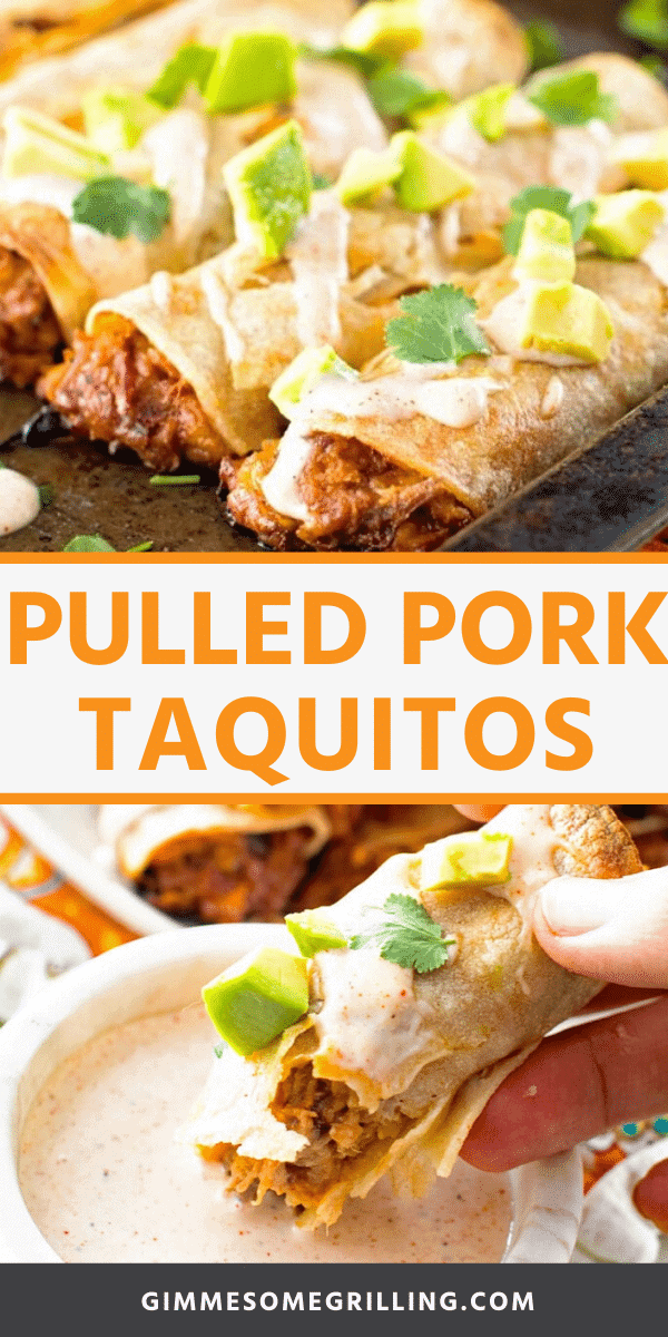 Easy Pulled Pork Taquitos are stuffed with pulled pork, BBQ sauce, cheese and baked in a tortilla for a crispy and delicious taquito. Don't forget the homemade chipotle ranch dressing to dip them into. Perfect easy dinner recipe to use up leftover pulled pork! #taquito #pulledpork via @gimmesomegrilling