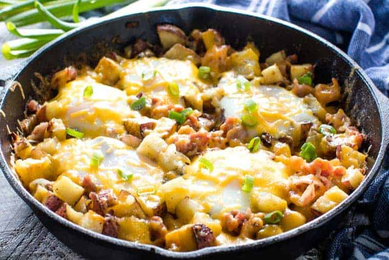 Breakfast skillet recipe in cast iron skillet