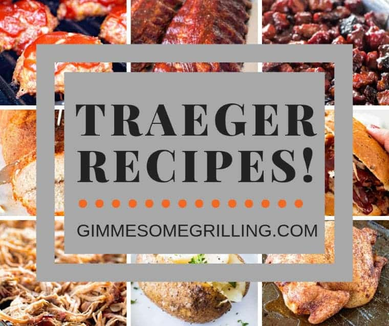 "Traeger Recipes Square Image. Eight images of smoked meats as the background to the text ""Traeger recipes!"""