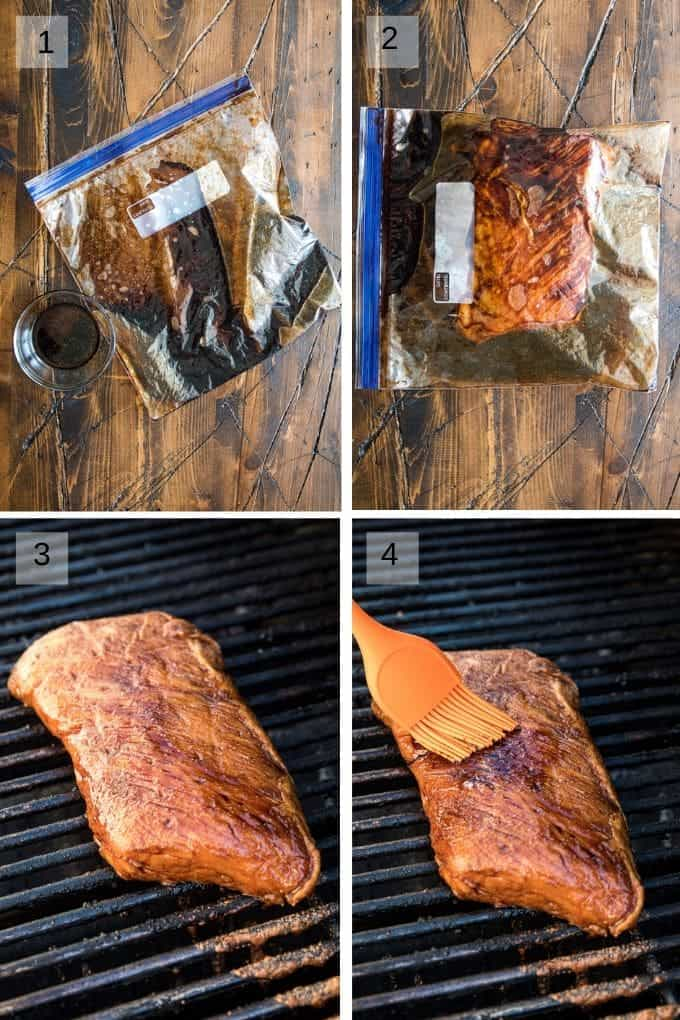 Four Images in a collage showing marinade in plastic bag, tenderloin in marinade, tenderloin on grill and a brush basting the tenderloin on grill