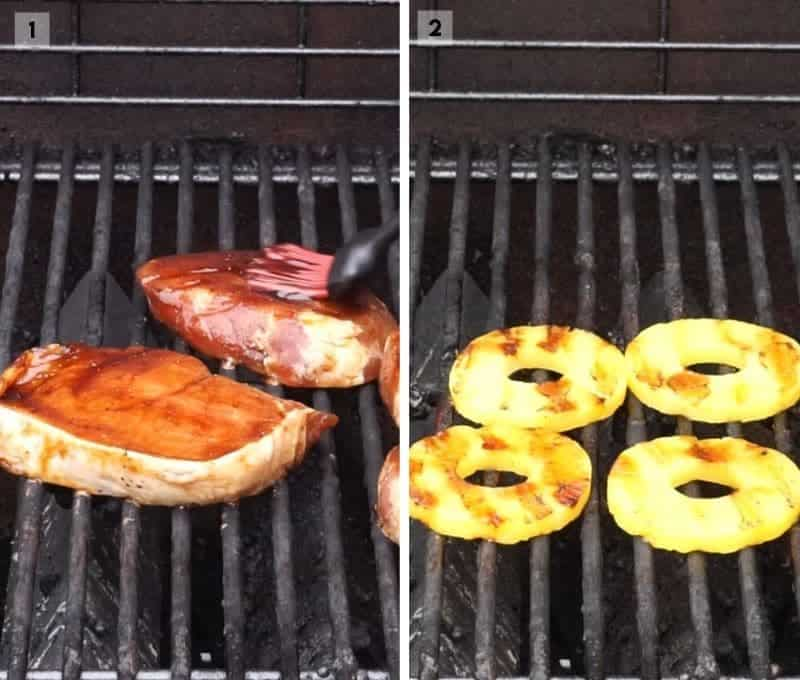 Collage of two images grilling pork chops and pineapple