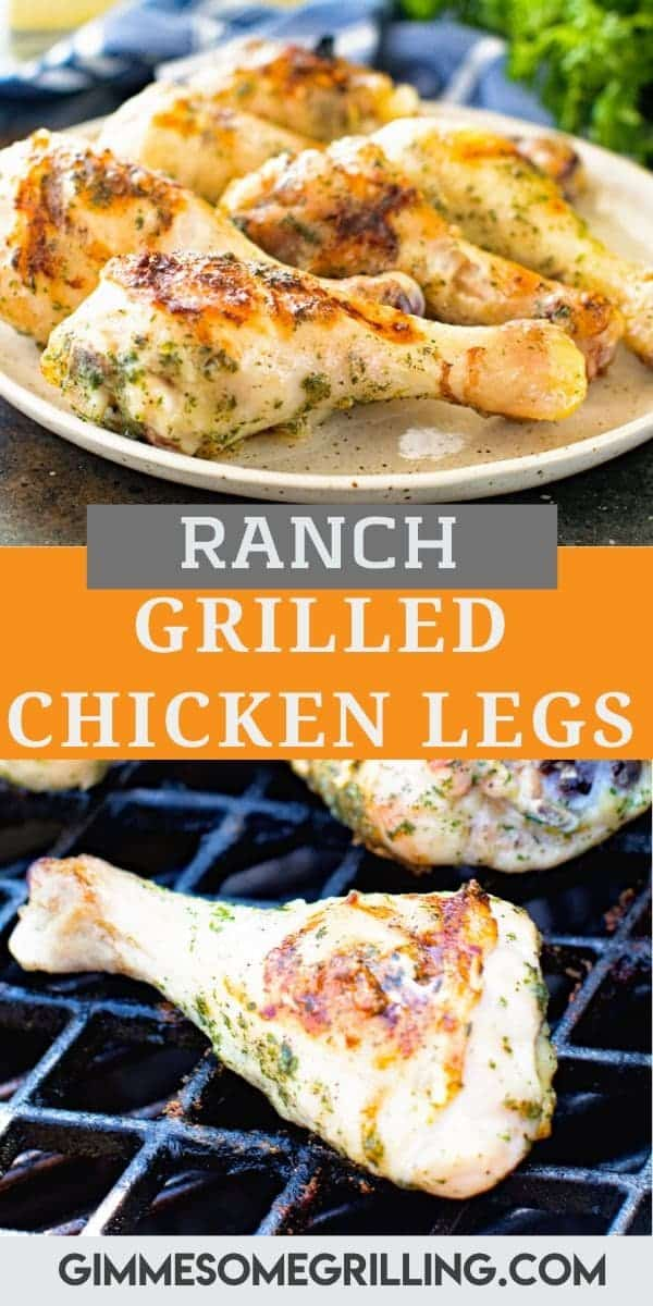 Tender, juicy chicken legs that are seasoned with ranch and then grilled. Juicy Grilled Chicken Legs are the perfect quick and easy dinner recipe or great for backyard parties, picnics and more. They are inexpensive yet packed with flavor. Kids love these for dinner! #chicken #legs via @gimmesomegrilling