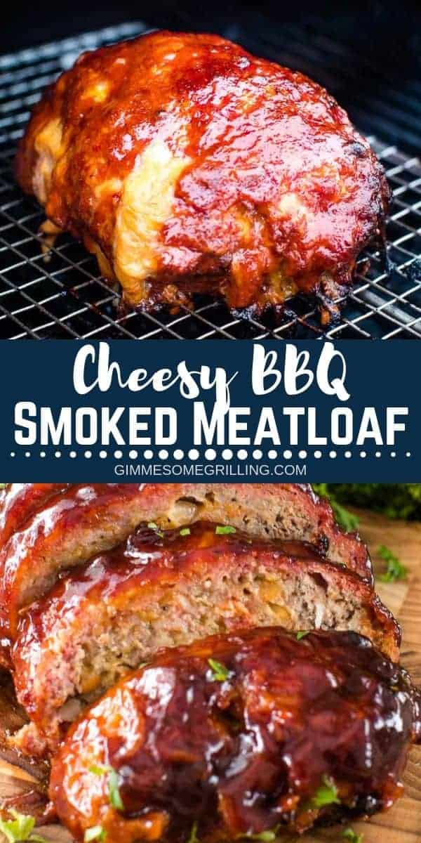 Looking for a new recipe for your smoker? This Traeger Meatloaf is amazing! It's loaded with cheesy and has a delicious BBQ sauce on it. Your family will love Cheesy BBQ Smoked Meatloaf for dinner. Plus, it's easy enough for a dinner recipe during the week but delicious enough to serve to your friends and family when you have them over! #meatloaf #traeger via @gimmesomegrilling