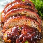 Cheesy Traeger Meatloaf cut into pieces