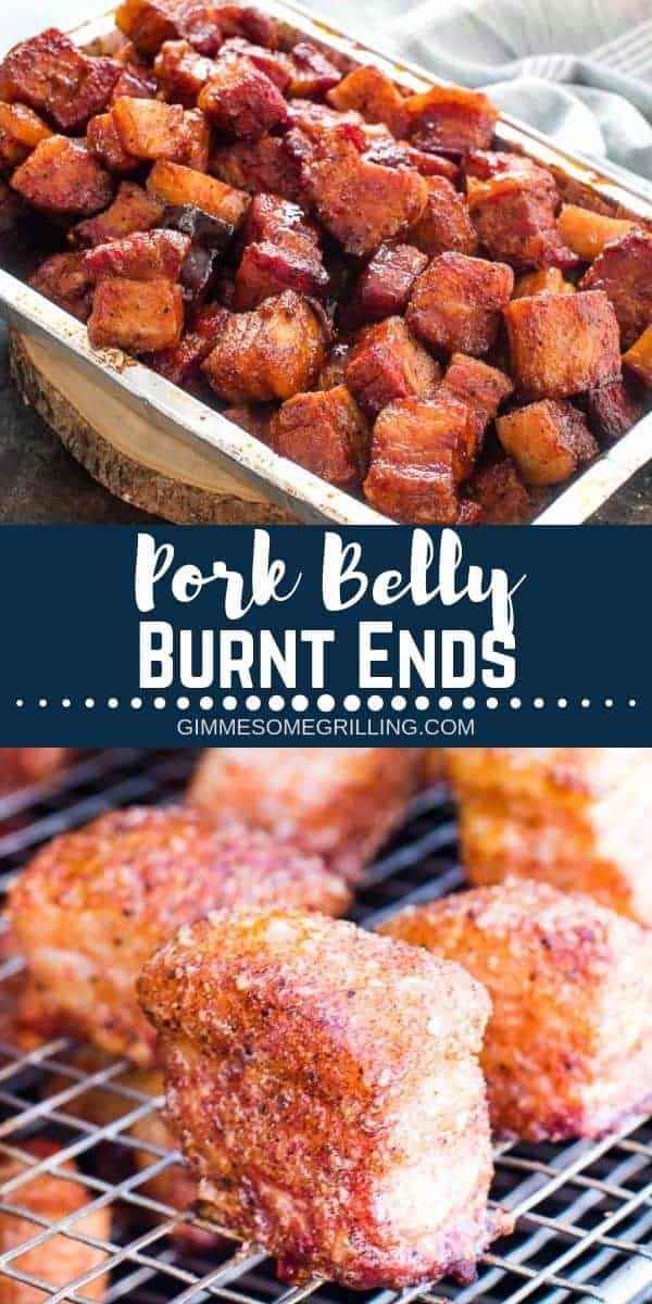 These Pork Belly Burnt Ends are such a delicious recipe and a fun twist on traditional Brisket Burnt ends. Instead of using a brisket we used a pork belly. The result are tender, flavorful pork belly burnt ends that are seasoned and tossed in BBQ Sauce. So delicious and packed with flavor! The perfect recipe for your Traeger Smoker for parties and entertaining! #recipe #traeger via @gimmesomegrilling