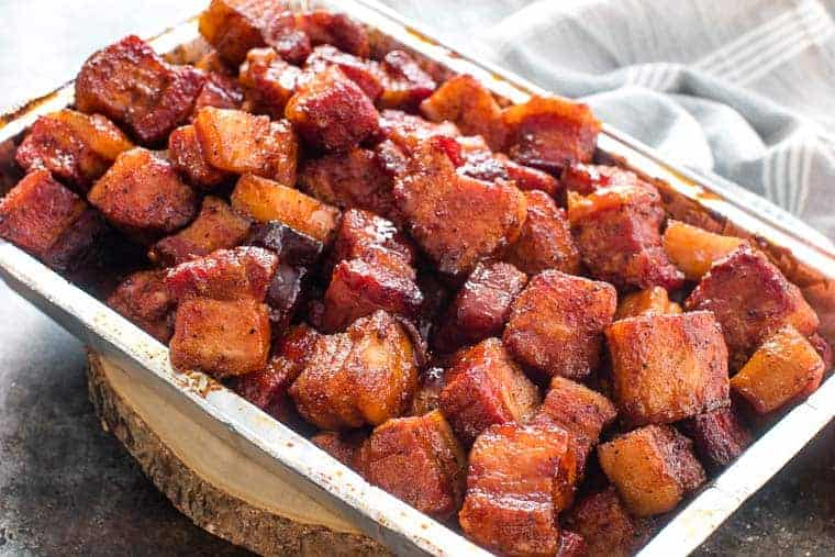 Pork Belly Burnt Ends Recipe in foil pan