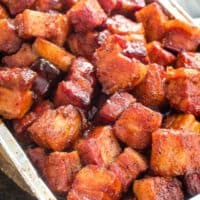 smoked pork belly burnt ends in foil pan