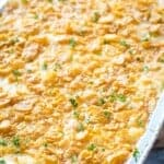 Cheesy Potato Casserole in foil pan