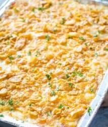 Cheesy Potato Casserole in foil pan