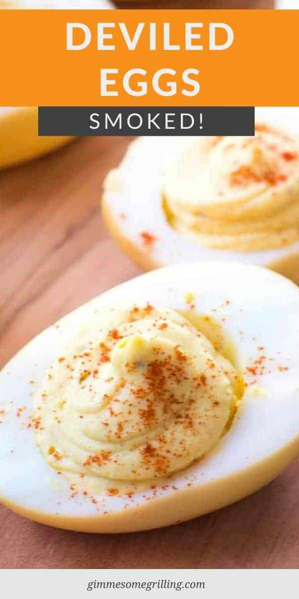 Surprise your guests with this twist on an old favorite. Smoked Deviled Eggs have so much flavor you'll never make them the old way again. They start with smoked eggs and then you fill them with a traditional deviled eggs filling. Make these for Easter or anytime to snack on. #deviledegg #recipe via @gimmesomegrilling