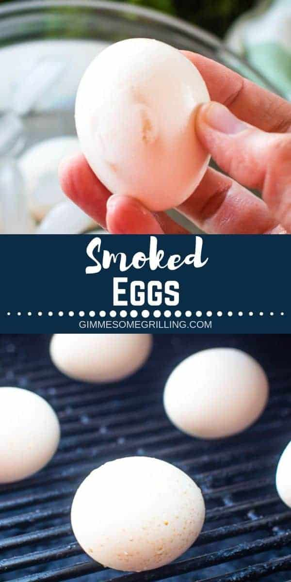 Learn exactly how to make these delicious and easy Smoked Eggs on your Traeger Pellet Grill. This recipe is great for making smoked deviled eggs, putting in your salads or eating these smoked hard boiled eggs alone. #traeger #eggs via @gimmesomegrilling