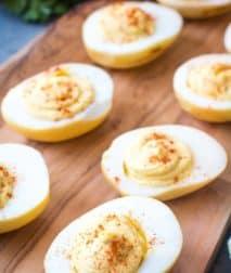 Traeger Deviled Eggs on cutting board