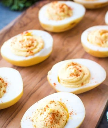 Traeger Deviled Eggs on cutting board