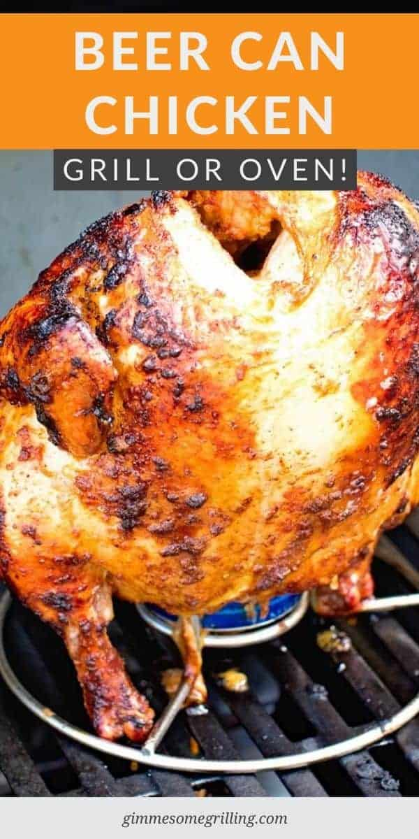 This delicious, juicy Beer Can Chicken on your grill is so easy! Plus, it's great to make on the weekend and use it for meal prep too. The chicken is seasoned with a homemade rub then grilled on top of a beer can. The chicken has a crispy, seasoned skin and is tender and delicious. #beercan #chicken via @gimmesomegrilling