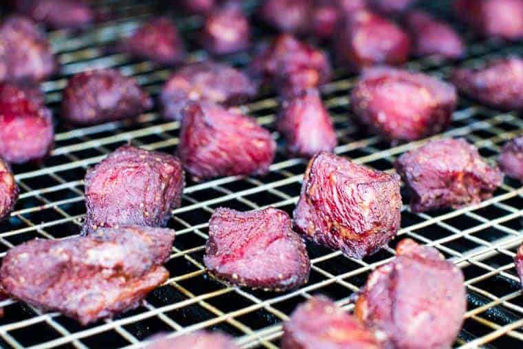 smoked steak bites on traeger smoker