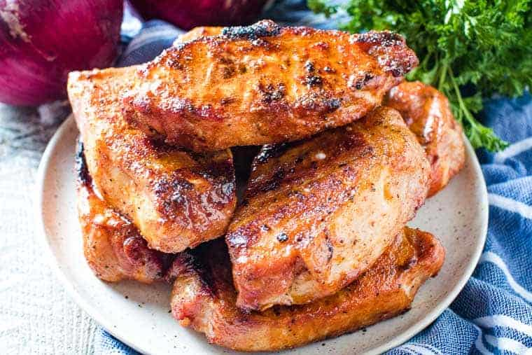 Plate of Easy Grilled Boneless Pork Chops