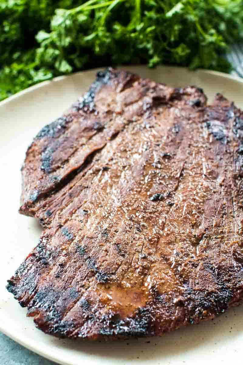 Smoked Flank Steak on plate
