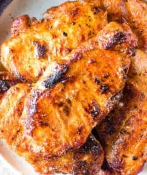Grilled Boneless Pork Chops Recipe on plate
