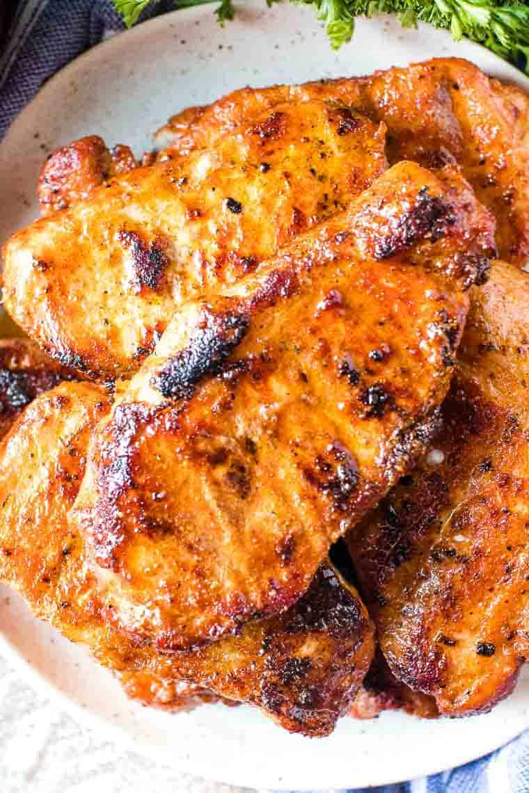 Grilled Boneless Pork Chops Recipe on plate