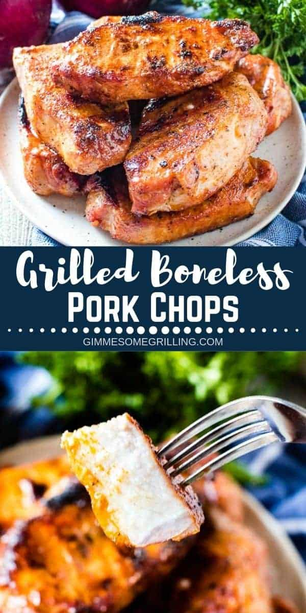 These easy Grilled Boneless Pork Chops have a delicious homemade rub with pantry staples. They are perfectly grilled until they are tender and juicy. They make a great healthy dinner recipe on your grill. Perfect for the weeknight! #porkchops #recipe via @gimmesomegrilling