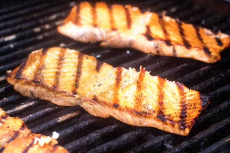 Salmon on gas grill
