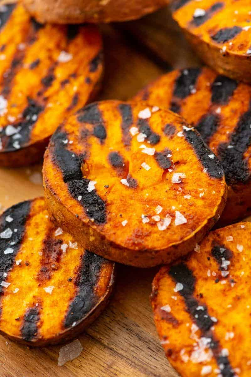 Close up of Grilled-Sweet-Potato-Slices