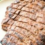 Marinated Smoked Flank Steak on plate