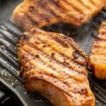 Marinated pork chops on grill pan