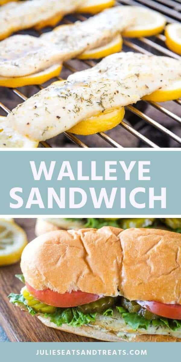 Looking for a new grilling recipe? You need to try this delicious Grilled Walleye Sandwich tonight! It has delicious, flaky walleye, crisp lettuce, pickles, ripe tomatoes and a tangy homemade tartar sauce piled on a toasted bun! #walleye #recipe via @gimmesomegrilling