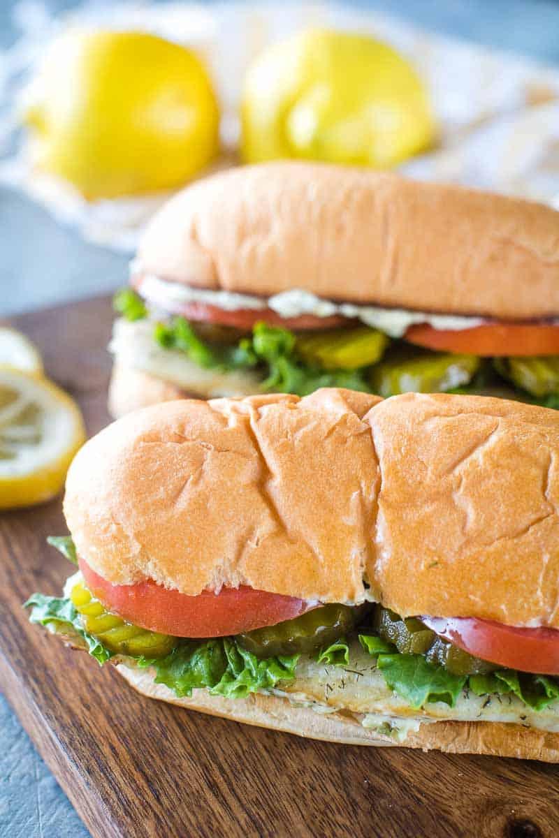 Walleye Sandwiches Finished on cutting board