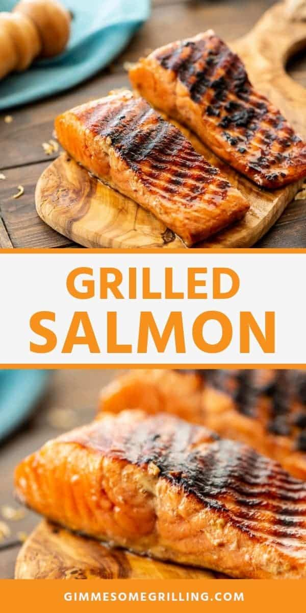 Grilled Salmon is a delicious, healthy dinner on the grill! It's packed with flavor from the marinade and delicious. If you love salmon you will love this grilled salmon recipe. #salmon #recipe via @gimmesomegrilling