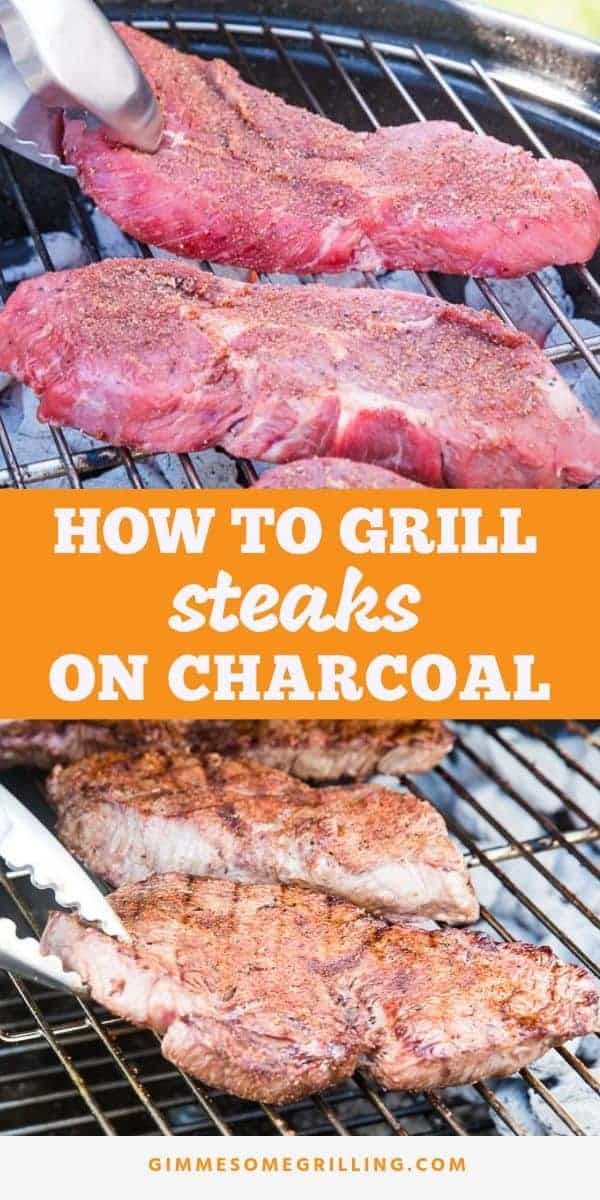Tips and tricks for getting a perfectly juicy, tender and delicious steak using your charcoal grill! Learn how to grill a steak on a charcoal grill with the ultimate smokey flavor. Plus, a homemade rub that is out of this world! These are the BEST charcoal grilled steaks ever! #steak #charcoal via @gimmesomegrilling