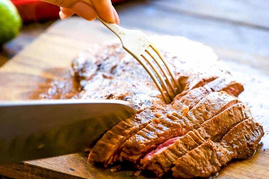 Cut Steak for Tacos on cutting board