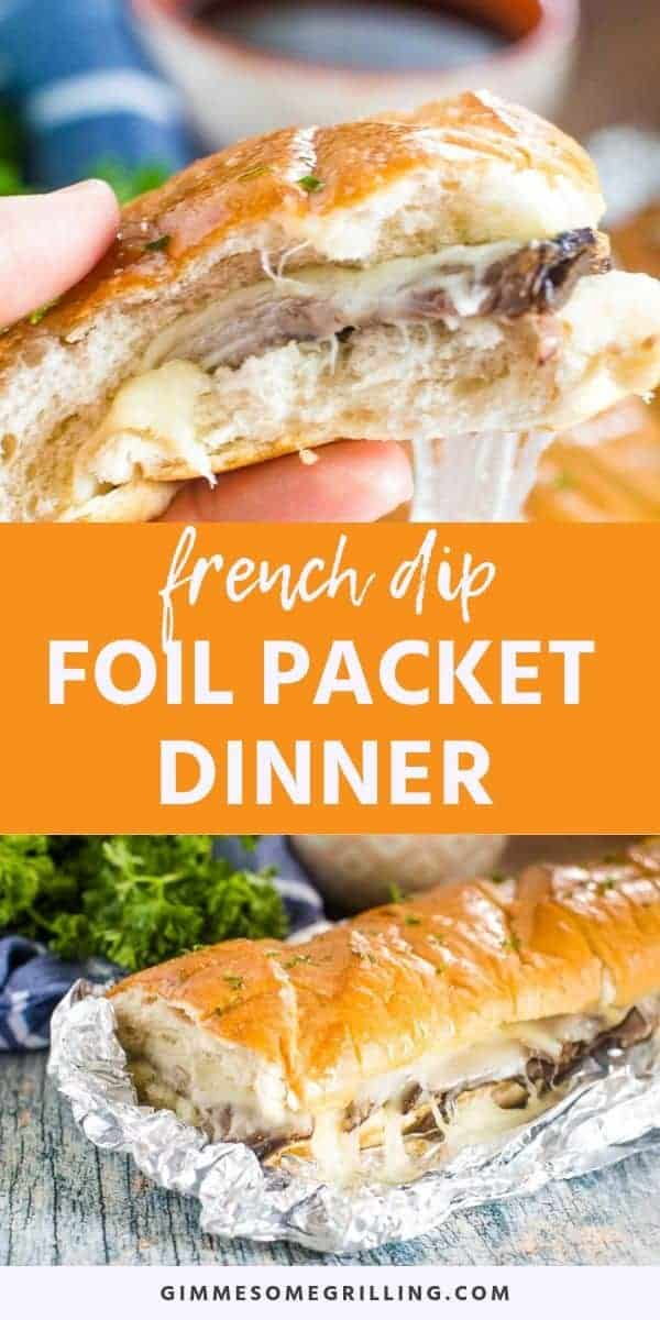 French Dip Foil Packet Dinner is perfect for the summer if you are grilling or camping out! You can make this on the grill, over the campfire or in the oven. Toasty bread stuffed with roast bee, melted provolone cheese and dunked in Au Jus! If you love foil packet dinners and French Dip Sandwiches this one is for you! #frenchdip #foilpacket via @gimmesomegrilling