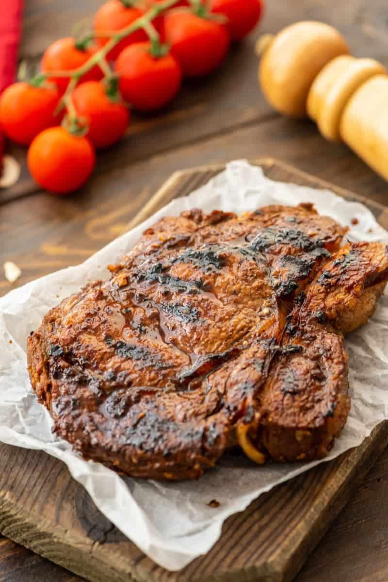 Garlic Steak on cutting board