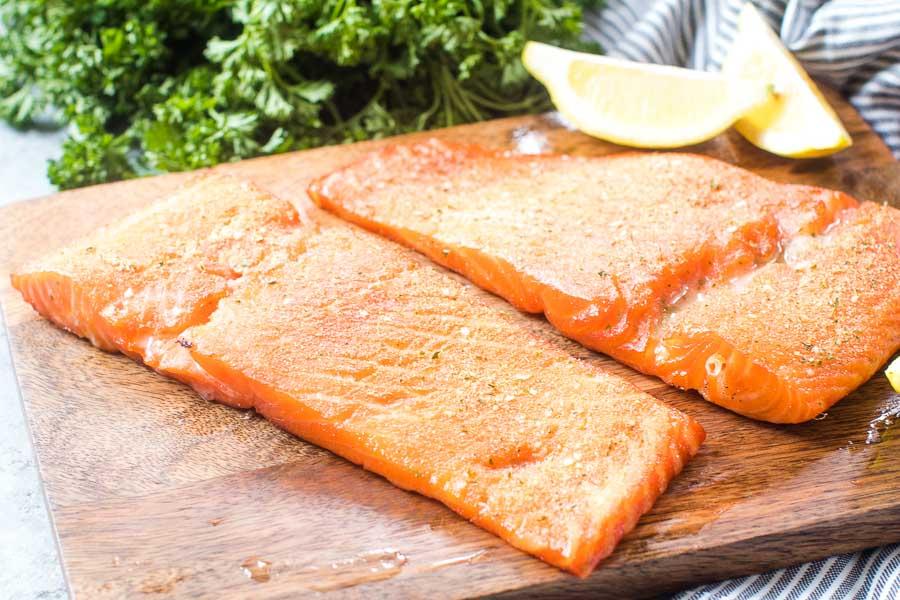 Smoked Salmon on wood cutting board
