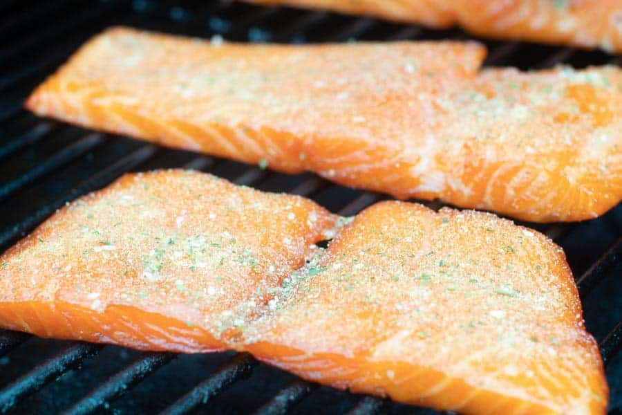 Smoked Salmon fillets on smoker