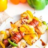 Teriyaki Chicken Kebabs on white plate