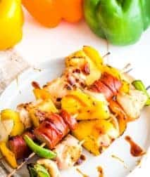 Teriyaki Chicken Kebabs on white plate