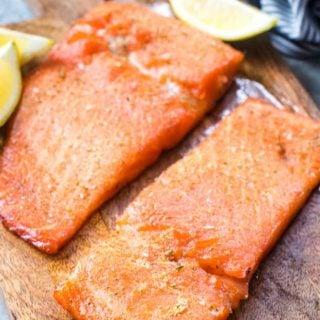 Smoked salmon on a wood cutting board