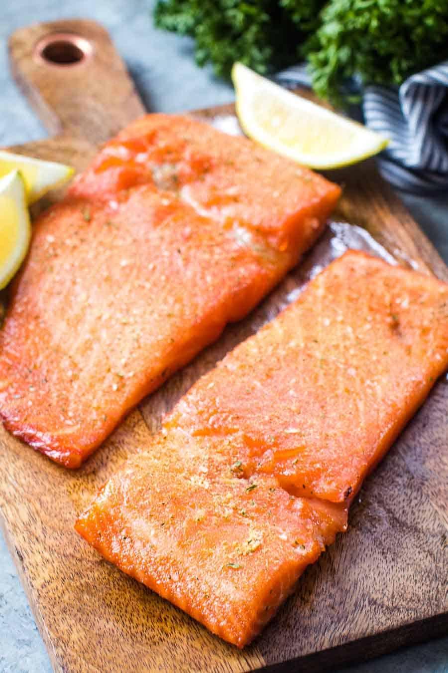 Smoked salmon on cutting board