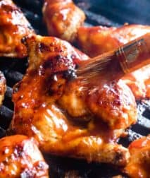 BBQ Chicken Recipe being brushed with barbecue sauce