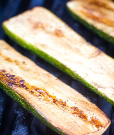 Grilled Zucchini on grill grates