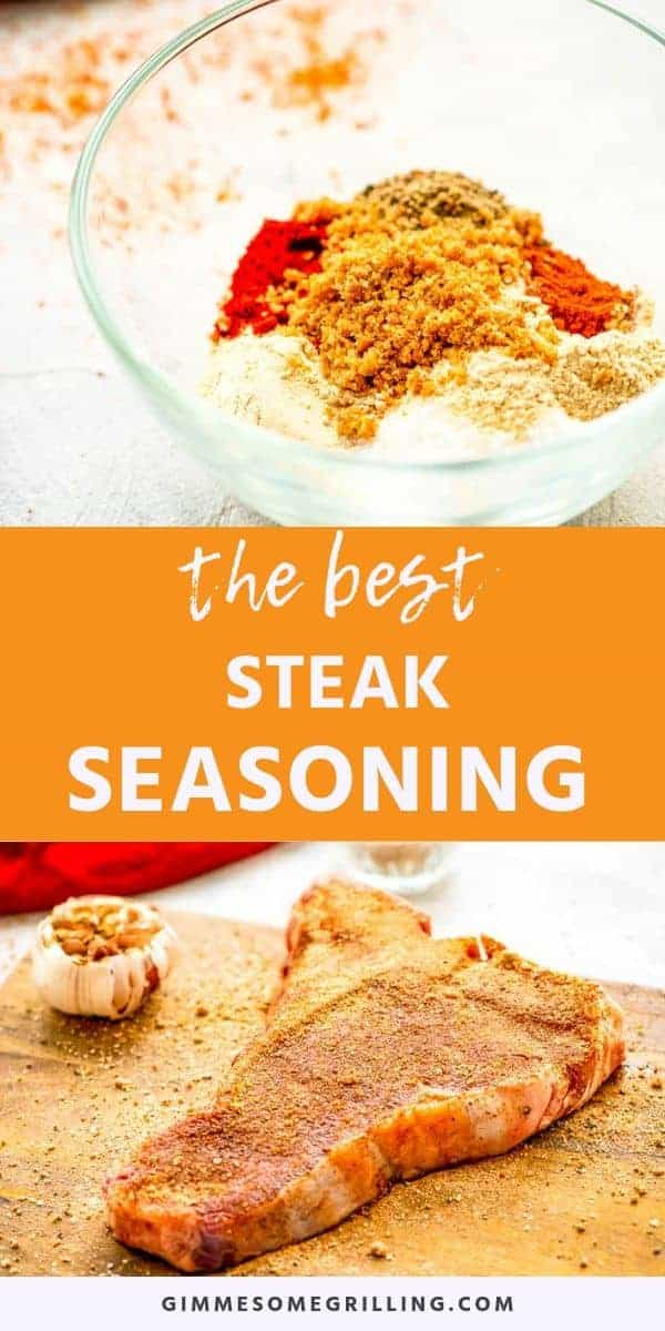 qaHomemade Steak Seasoning will make your steaks the BEST grilled steaks ever! It's the perfect blend of garlic powder, smoked paprika, onion, chili and black pepper. The addition of brown sugar will give your steaks the perfect sweet touch without being overwhelming. Upgrade from seasoning your steaks with salt and pepper to this delicious mix. It's the BEST Steak Seasoning ever! #steak #seasoning via @gimmesomegrilling