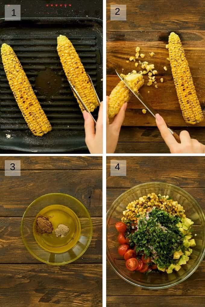 Collage showing grilling corn in grill pan, cutting it off the cob, a bowl of dressing for salad and ingredients for salad in a bowl