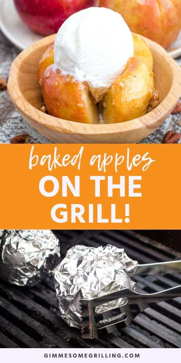 Baked Apples on the grill is a fun dessert that's perfect for camping, grill out or just because you want an apple dessert! This recipe can also be made in the oven. Tender, juicy apples that are stuffed with an amazing oatmeal filling. Top them with caramel and ice cream after they are done baking or grilling! #baked #apple via @gimmesomegrilling