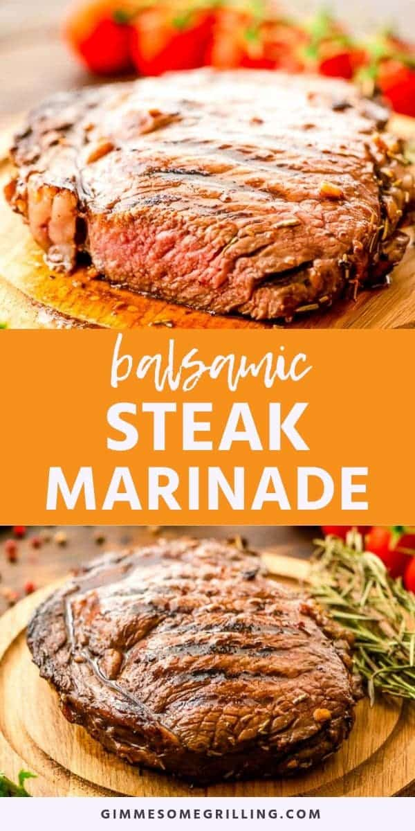 Balsamic Steak Marinade is a quick and easy steak marinade recipe. Mix it together, throw your favorite steaks in it and let it marinate for at least two hours. It's only six ingredients and I bet you can find them in your pantry! The result is a juicy, tender and flavorful steak hot of your grill for dinner! #balsamic #marinade via @gimmesomegrilling
