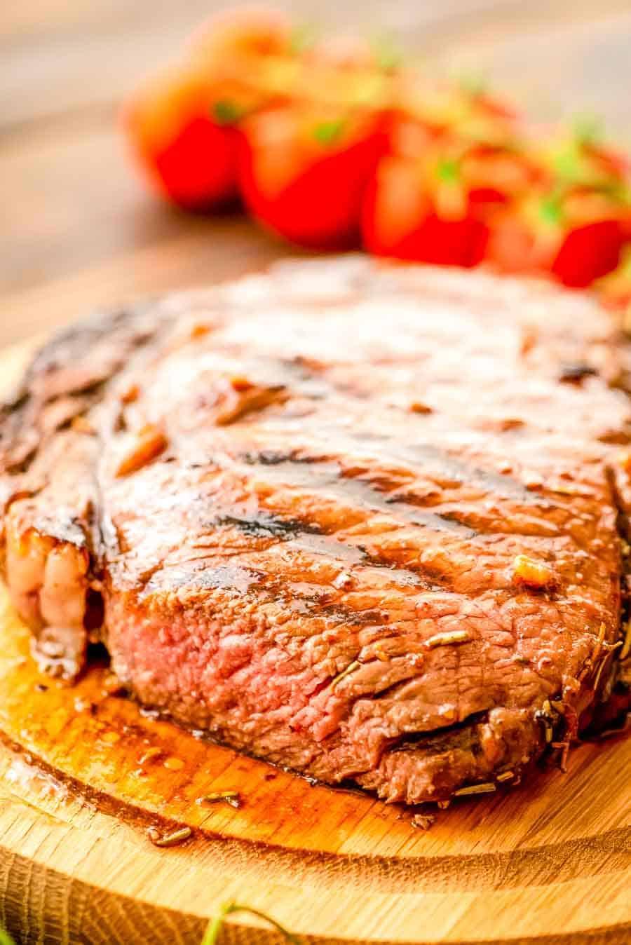 Balsamic steak on cutting board