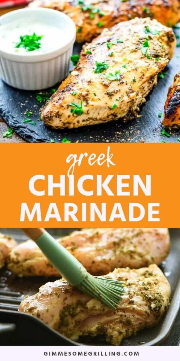 Greek Chicken Marinade is a quick and easy marinade recipe that will give your chicken amazing flavor and make it so tender! The combination of classic Greek flavors like lemon, garlic and oregano will have your taste buds bursting. This is perfect for a easy grilled dinner recipe on a busy weeknight. #greek #marinade via @gimmesomegrilling