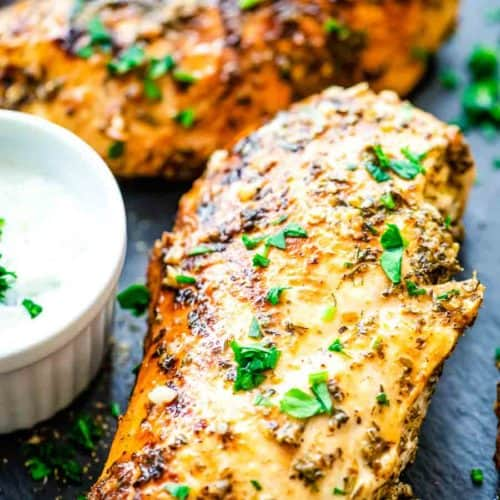 Grilled Chicken breasts made with Greek Marinade